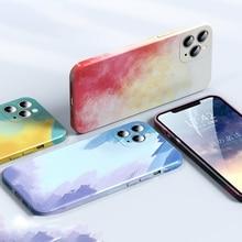 Liquid Silicone Luxury Square Watercolor Case For Apple iPhone 11 12 Pro Max X XR XS Max Painti Colo