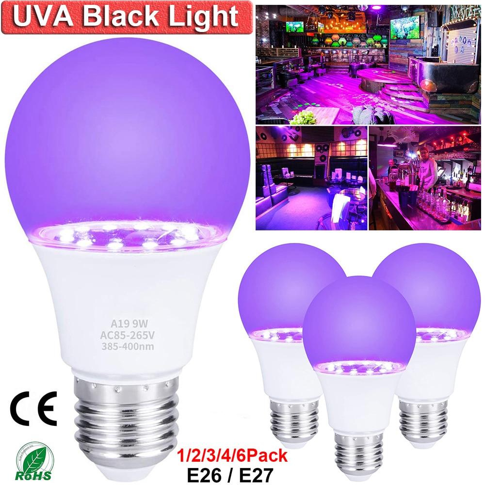 Светодиодная УФ-лампа 9 Вт E26 E27, черная лампа, Уфа-уровень, 395-400 нм, черная лампа, флуоресцентный постер для хэллоуивечерние неоновое украшени...