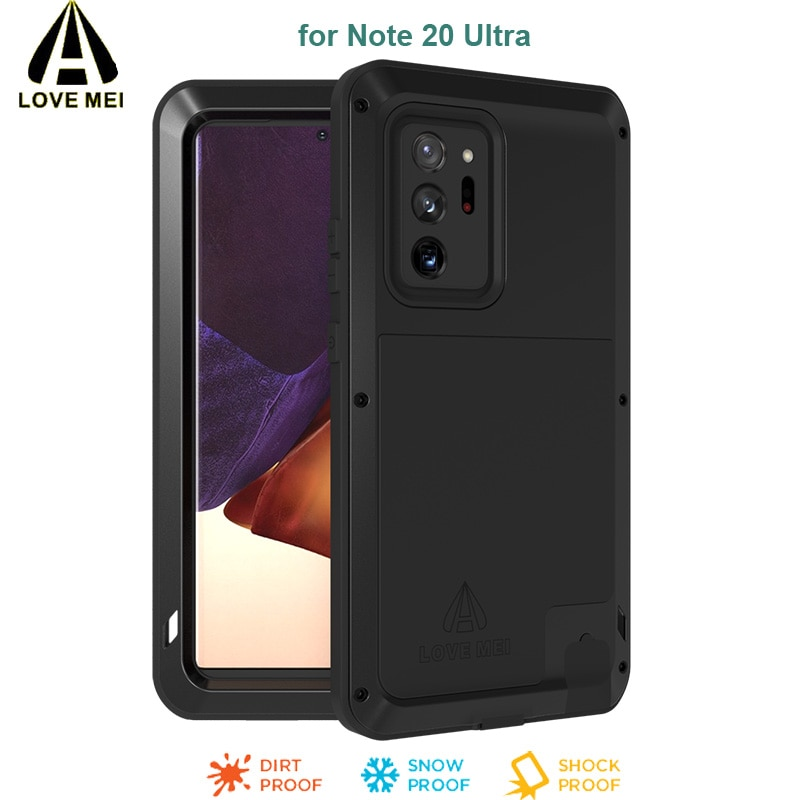Note 20 Ultra LOVE MEI armadura de Metal de aluminio cubierta de gran alcance impermeable a prueba de golpes Rugged Phone Case para Samsung Galaxy Note 20 Ultra