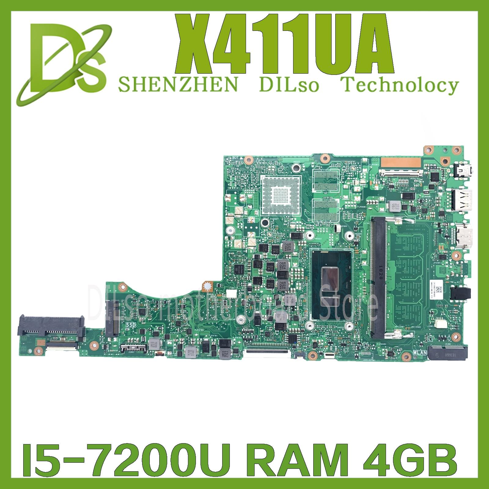 Get KEFU X411UA For ASUS X411UAK X411UQ S4200U X411UN X411UR X411URR X411URP X411UF Laptop Motherboard work I5-7200U 4GB