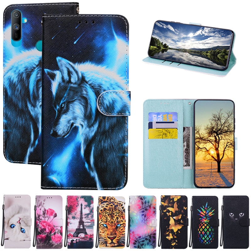 Case For Realme C3 Case Soft Silicone Tpu Wallet Flip Case For OPPO Realme C3 C 3 Coque Capa Fundas