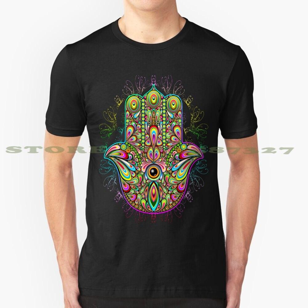 Hamsa Fatma mano psicodélica amuleto gráfico personalizado divertido gran oferta camiseta Hamsa Khamsa mano cinco simbolismo árabe hebreo Romano