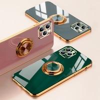 Роскошный чехол с кольцом с покрытием для iPhone 12 11 Pro Max XS XR X 7 8 Plus iPhone11 11Pro, мягкий силиконовый чехол-держатель для телефона, чехол