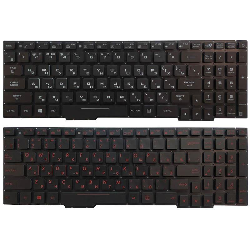 Russian Laptop Keyboard For ASUS GL753 GL753V GL753VE GL753VD with backlit red/white