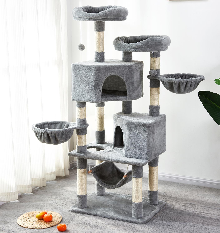 Grande gato árbol Torre casa gatito mascotas jugando escalada rascado de Sisal poste gatos rascador centro de actividad juguete hamaca de felpa