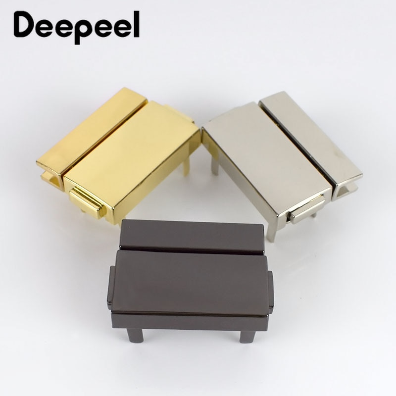 osmond alloy tone turn locks snap clasps closure buckle for bags accessories diy handbags purse alloy button replacement lock 5pcs 38x29mm Rectangular Metal Press Push Locks Latch for Bags Snap Decorative Click Clasps Closure DIY Hardware Accessories