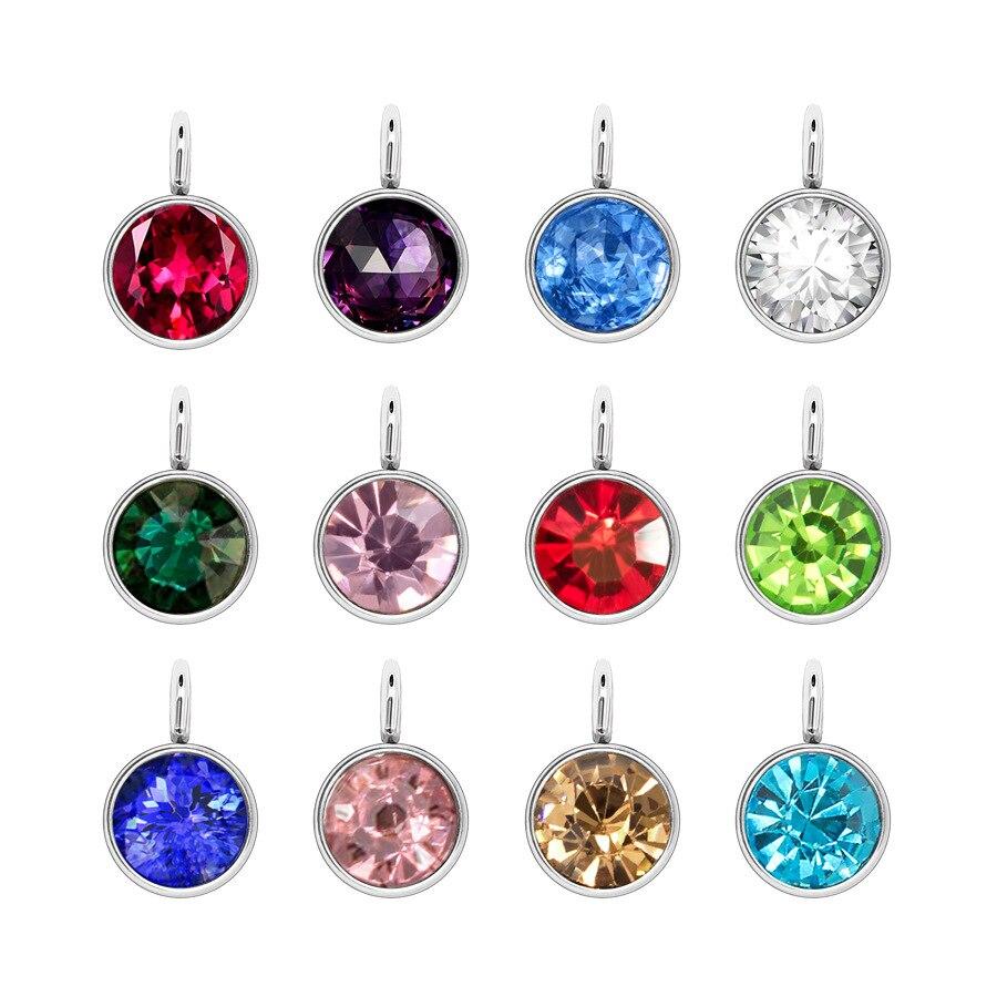 Venta al por mayor, 12 uds, abalorios de piedra natal de cristal de piedra de nacimiento coloridos con joya de anillo abierto, accesorios Diy