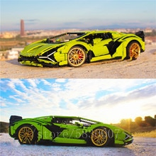 RC voiture Lamborghinis SIAN FKP37 Roadster modèle technique 42115 3696 pièces avec lEGOED blocs de construction briques enfants jouets cadeau