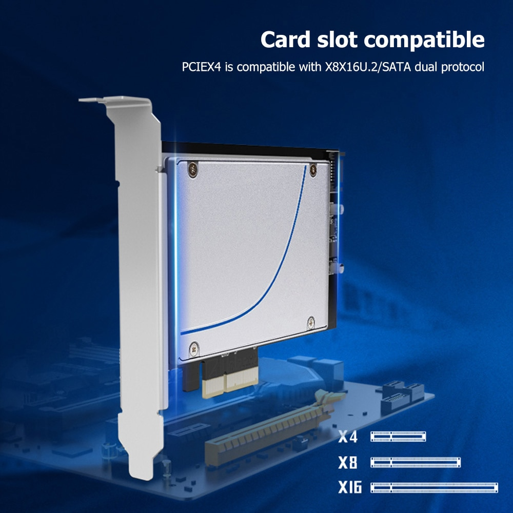 KT048 PCIE X4 إلى الولايات المتحدة 2/SATA محول المجلس مع 7Pin SATA كابل 2.5 بوصة SFF-8639 قرص صلب PCI-Express 3.0 محول وحدة