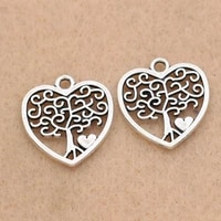 10pcs tibetan silver plated tree of life heart charms pendants for necklace bracelets jewelry making diy accessories 15x14mm