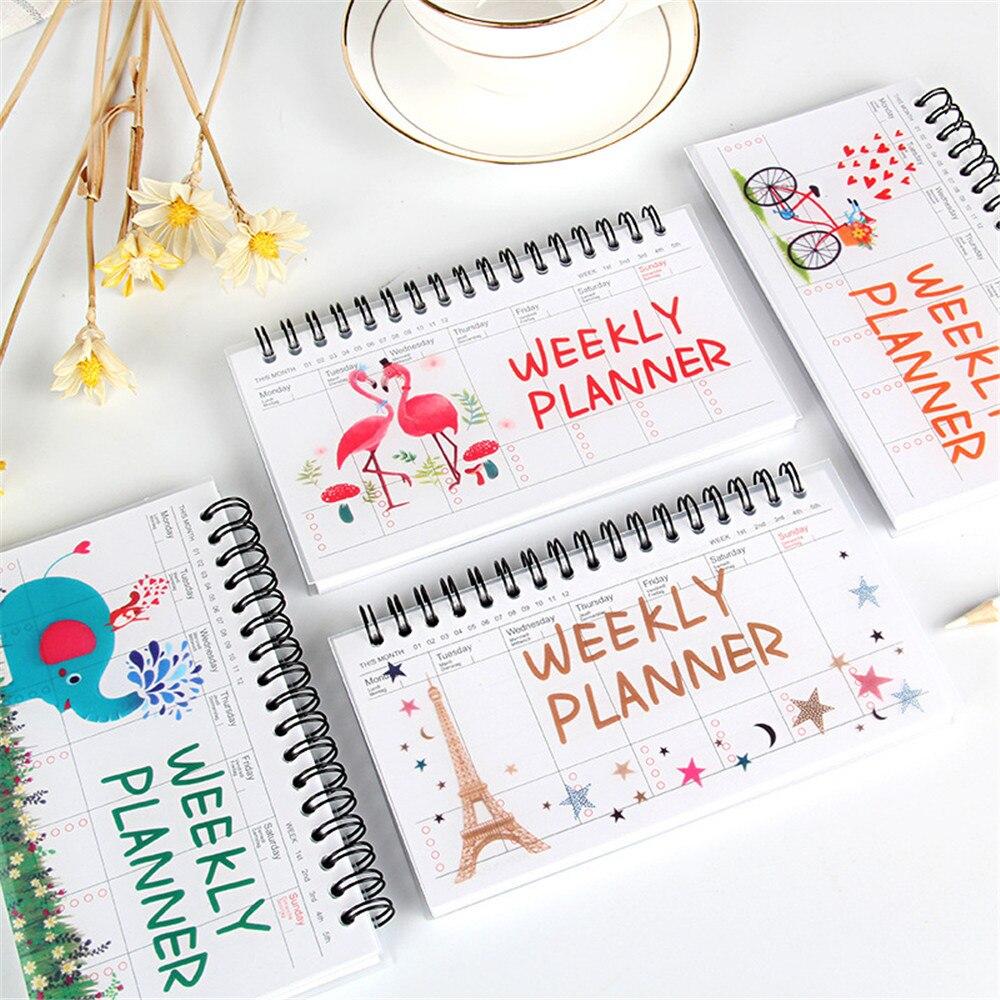 Cuaderno Kawaii portátil, Agenda, diario semanal mensual, organizador de estudiantes, horario escolar,...