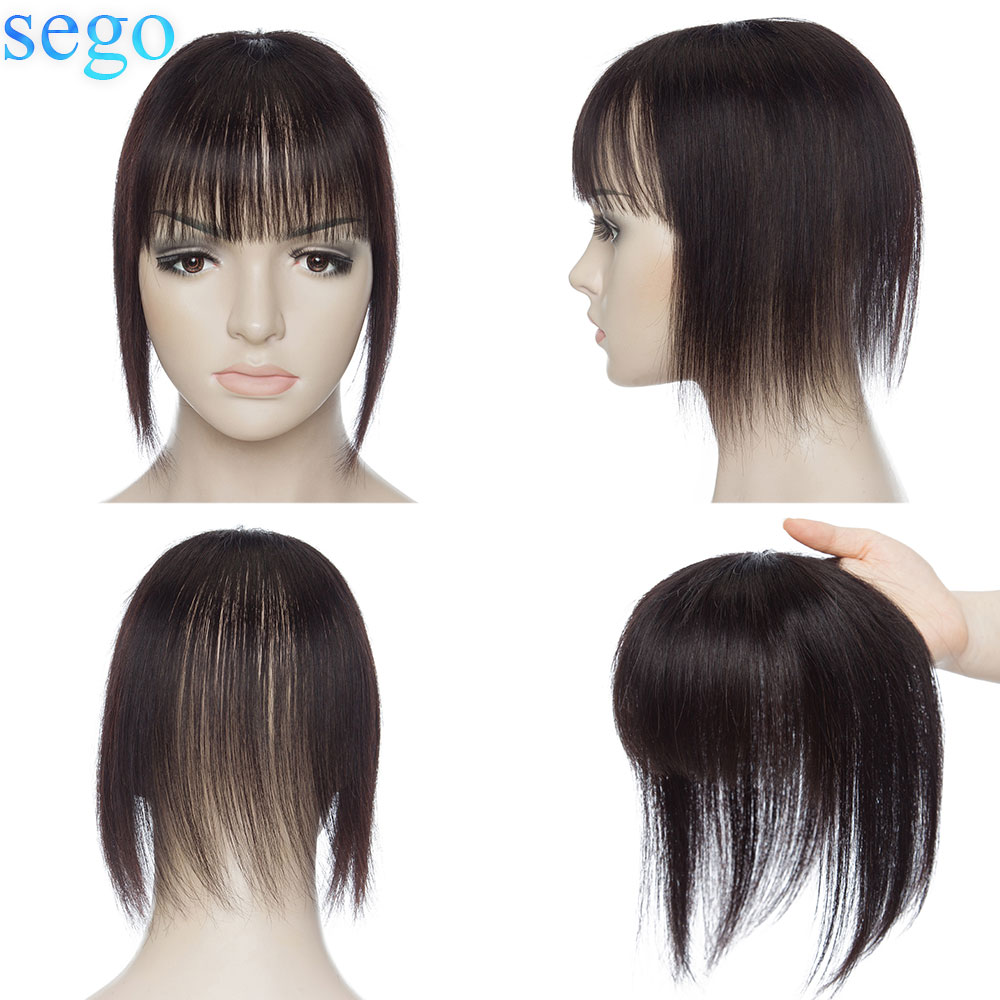 SEGO 8.5x8.5cm Straight Human Hair Topper Remy Natural Hairpieces with Bangs for Women Small Toupee Bang 3 Clips ins