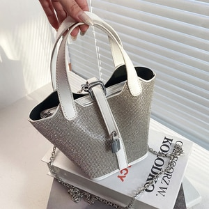 Diamond Tote Bucket bag 2021 Summer New High-quality PU Leather Women's Designer Handbag Chain Shoulder Messenger Bag Purses