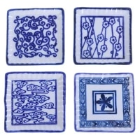 doll mini food dishes tableware china blue and white porcelain toy dollhouse ceramics trays square plates kitchen