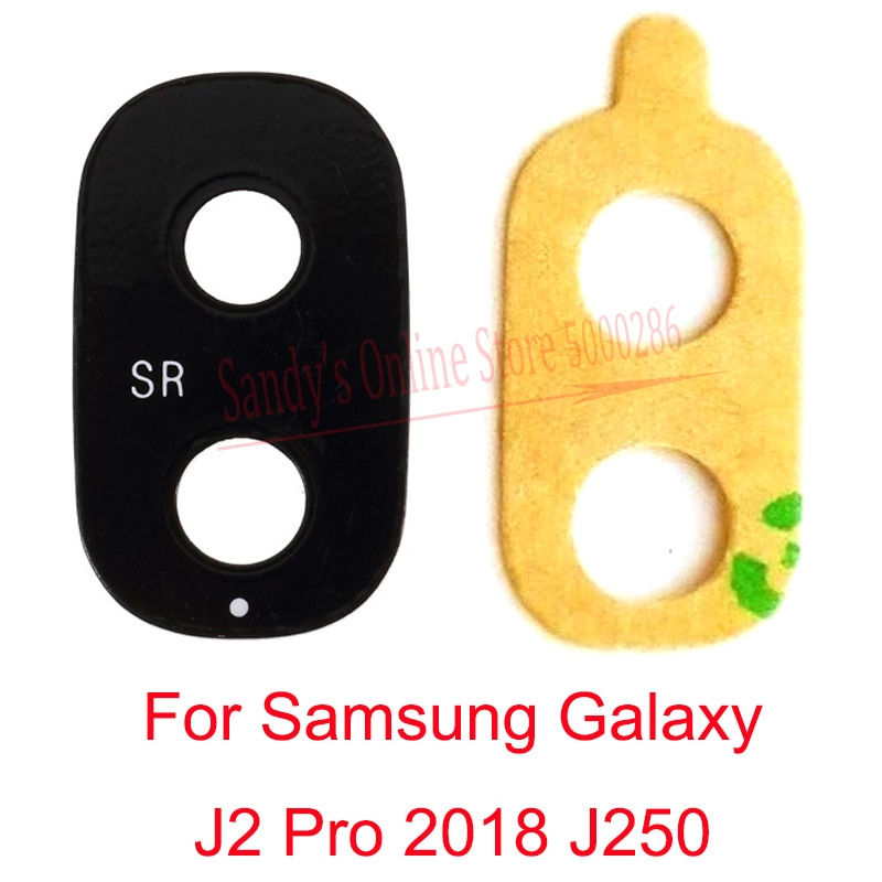 Nuevo lente de cristal de la cámara principal trasera para Samsung Galaxy J2 Pro 2018 J250F J250H J250G J250 Lente de Cristal de la cámara grande con etiqueta