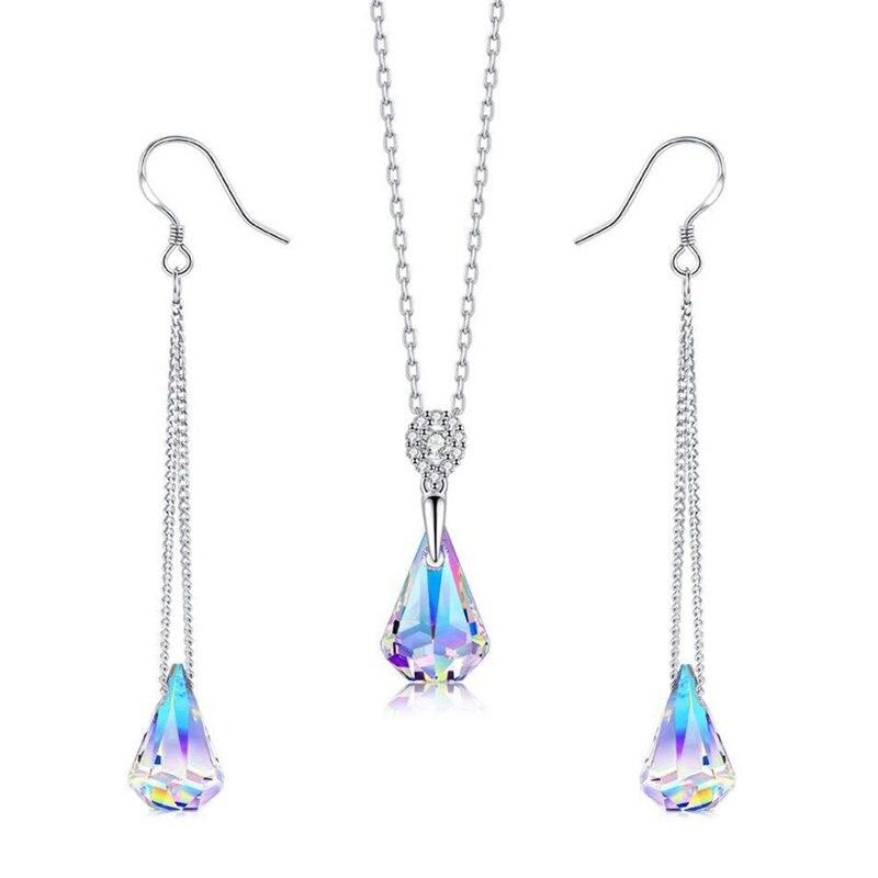 Top Qualität 925 Sterling Silber Hochzeit Schmuck Setzt Mehrere Farbe Kristalle Anhänger Halskette Ohrringe