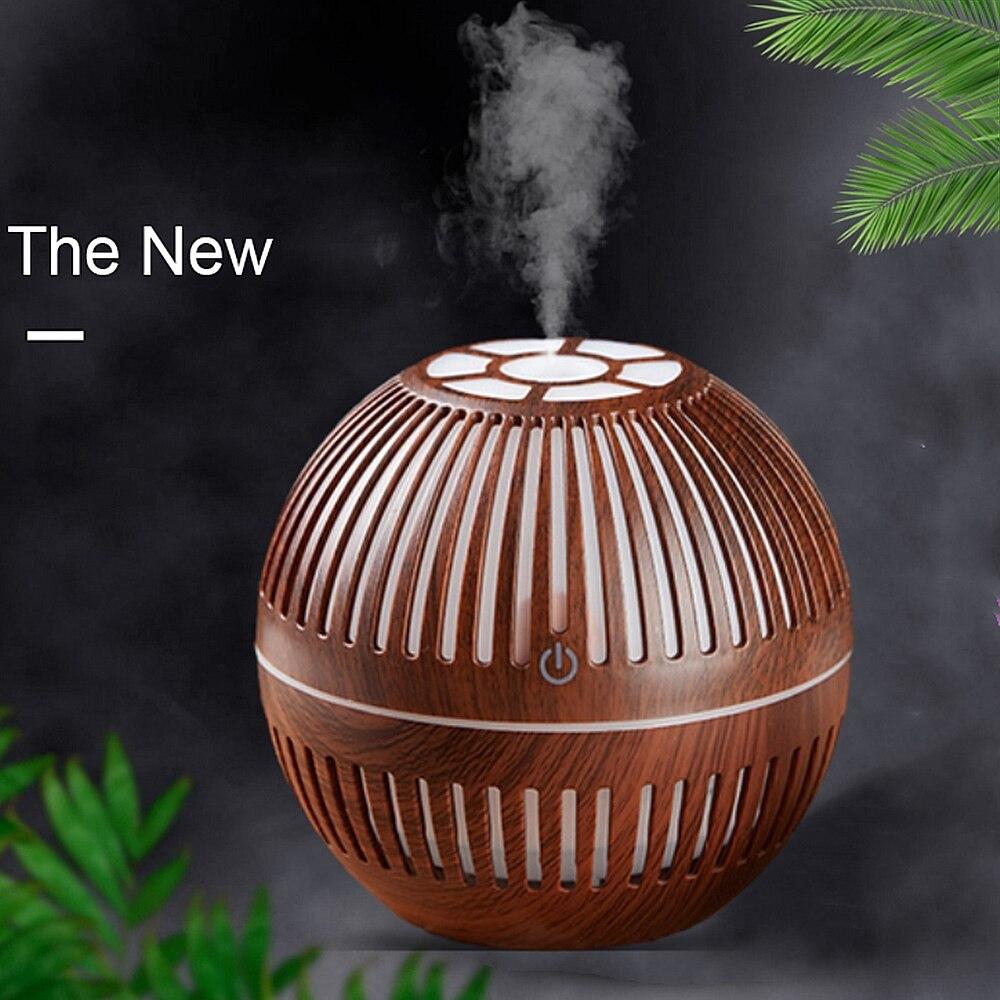 130ml Wood Grain Air Humidifier USB Rechargeable Essential Aroma Oil Diffuser Ultrasonic Mini Mist Maker LED Ligh