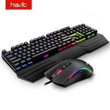 HAVIT Gaming clavier mécanique 104 touches rvb bleu clair/rouge commutateur clavier filaire ou clavier ensemble de souris Ru/Version anglaise