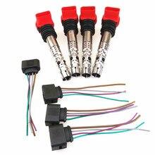 FHAWKEYEQ 4 jeu de bobines dallumage à haute tension   Buse + câble de connexion adaptateur de prise pour A4 1.8T AVJ AMB BEX 1J0 973 724 06C905115L