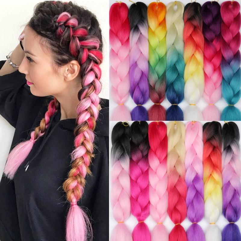 LISIHAIR 24 дюйм плетение волос наращивание Джамбо косы синтетические волосы стиль 100 г/шт. чистый блонд розовый зеленый поддержка оптовая прода...