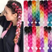 LISI HAAR 24 Zoll Flechten Haar Extensions Jumbo Häkeln Zöpfe Synthetische Haar stil 100g/Pc Reine Blonde Rosa grün