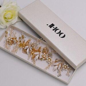 JHOO Headbands,Wedding Headpieces for Bride Vintage Bridal Hair Clips Alloy Leaf Hair Vines Women Rhinestone Hair Jewelry