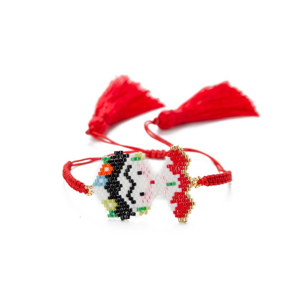 MIYUKI, pulsera roja larga con borlas, Pulseras de cuentas para Mujer, brazalete de Moda para Mujer, brazalete de regalo, joyería para niños, pulsera de caricatura hecha a mano