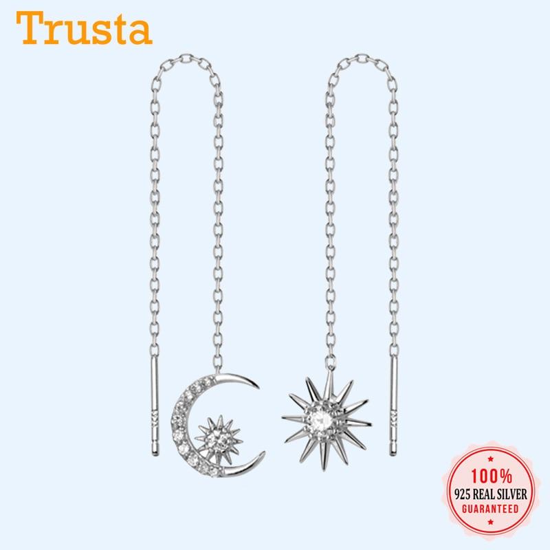 Trustdavis, Plata de Ley 925 auténtica, asimétrica, sol, luna unida, 10cm, línea de oreja para mujer, Plata de moda, joyería 925 DS2113