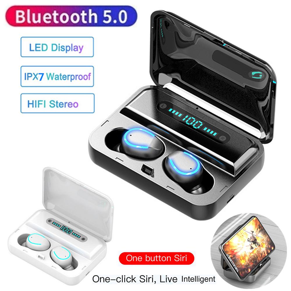 F9 F9-5 F9-9 Bluetooth 5,0 Ohrhörer 200mAh TWS Drahtlose LED Digital Display Kopfhörer Wasserdicht 8D 9D Touch Taste Stereo headset