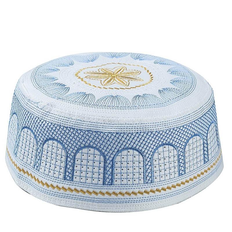 Мусульманские мужские молитвенные головные уборы, хлопковые шапки с вышивкой, Арабская мужская шапка, Саудовская Аравия, Исламская шапка, т... недорого