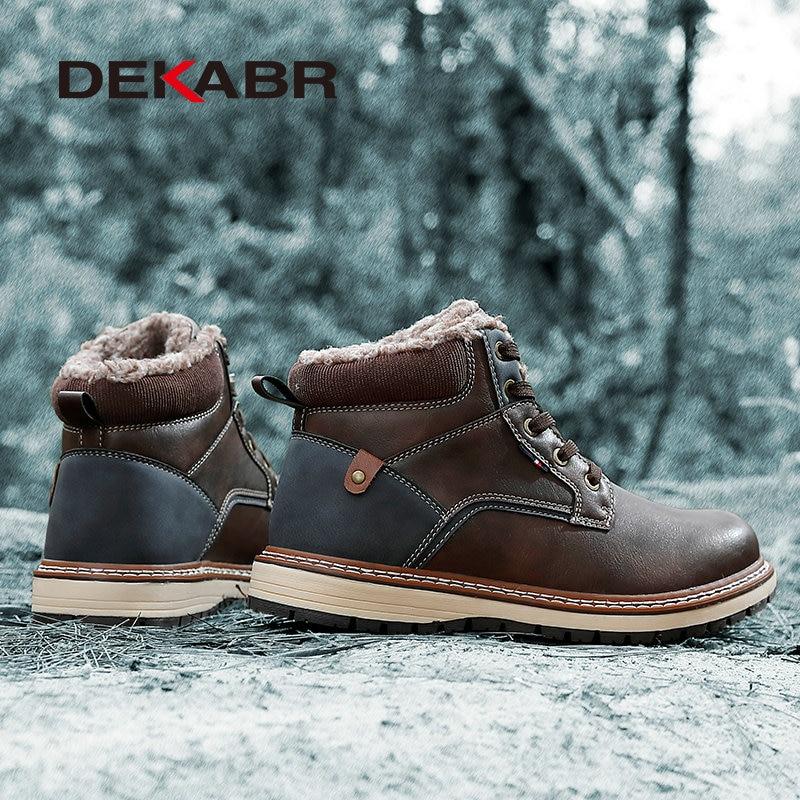 DEKABR Winter Genuine Leather Men's Boots Thick Fur Warm Ankle Boots Working Men Footwear Waterproof Snow Boots Plus Size 40~47