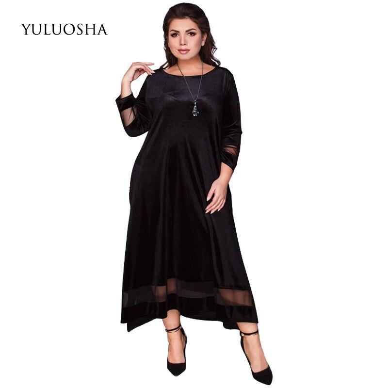 YULUOSHA New Black Evening Dress Women Elegant O-Neck Lace A-Line Formal Dress Vestidos De Noche Largos Elegantes De Fiesta