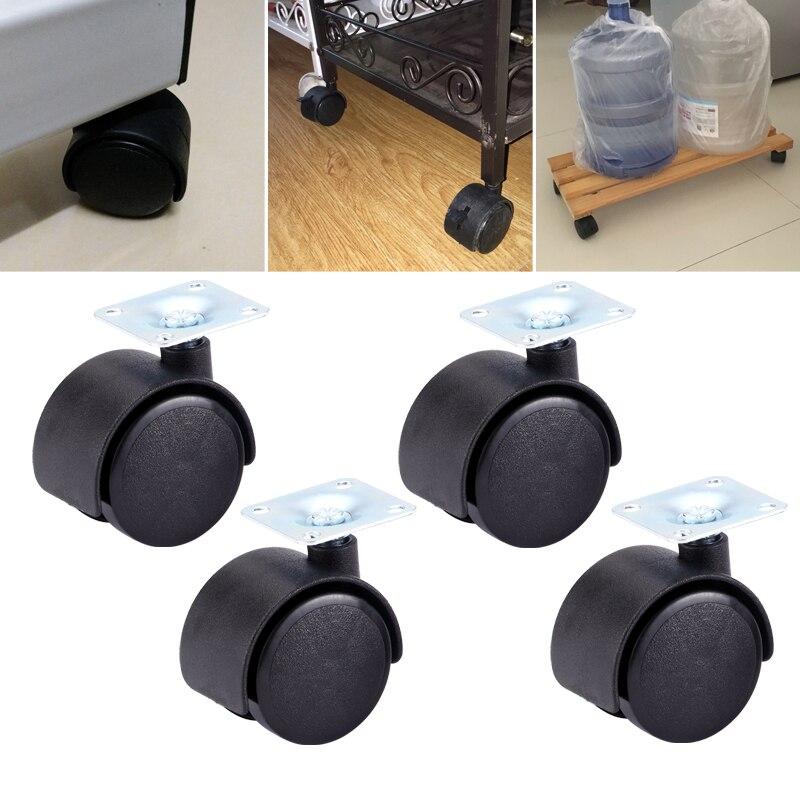 Myhomera, 4 Uds. Rueda para mesa de 48mm, 40mm, placa pivotante para muebles sin freno, ruedas giratorias para ruedas, carrito de repuesto, rodillo negro
