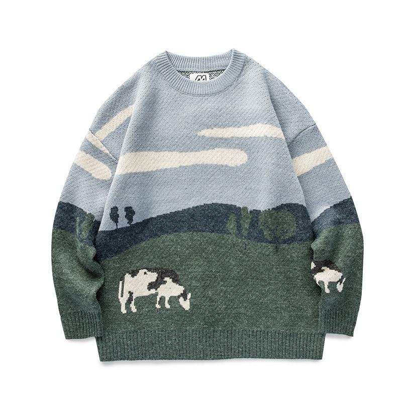 Винтажные зимние свитера для мужчин и женщин, Молодежные коров, пуловеры 2021, мужские корейские модные свитеры с круглым вырезом, женская пов...