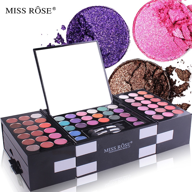 MISS ROSE 142 Color Eye Shadow Blush Eyebrow Powder Makeup Case Cosmetic Artist Special Cosmetic Gift for Women Hot Selling