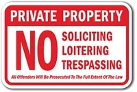 private prop no soliciting loitering trespass offenders prosecuted sign label decal sticker 8
