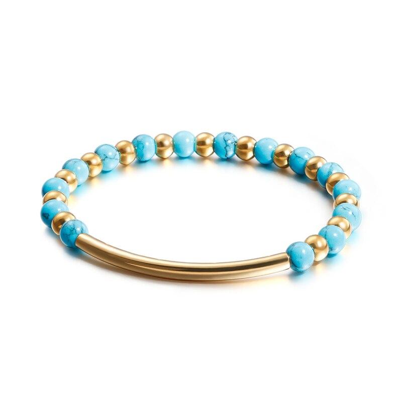 Классическая Женская цепочка из соснового камня, ювелирные изделия из нержавеющей стали, эластичная цепочка, синие аксессуары для рук, брас...