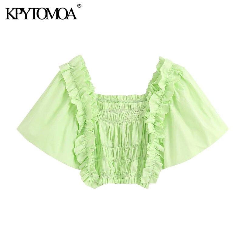 KPYTOMOA mujeres 2020 moda volantes Smocked Blusas recortadas Vintage cuadrado Collar Puff manga femenina Blusas Chic Tops