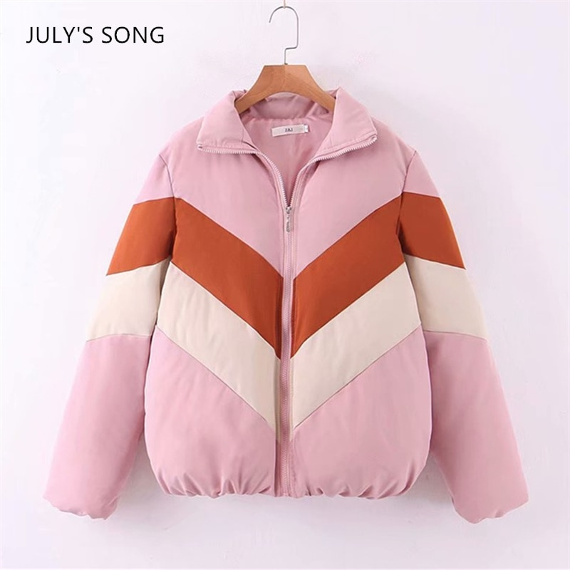 JULYS SONG Fashion Cotton Coat Winter Autumn Trend Warm Color-Matching Oversize Parka Female Leisure Stripe Casual  Jacket