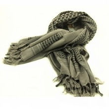 100% Cotton Grey Arab Keffiyeh Shemagh Scarf Shawl Military Tactical Scarves Desert Thickened Hijab