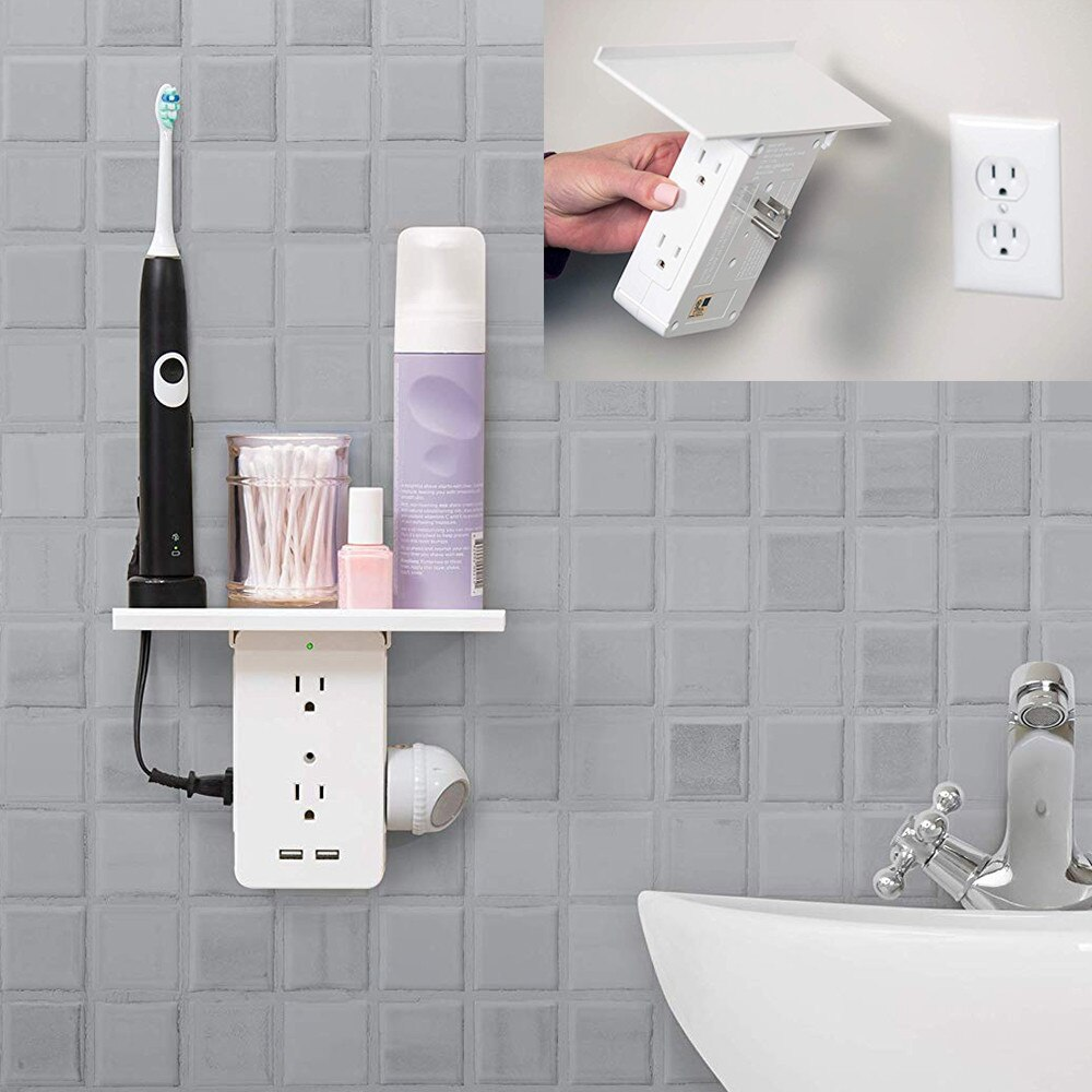 Interruptor de toma de enchufe estante 8- US estándar Multi-función de baño AC Power estante para tomacorriente con USB almacenamiento titular baño St