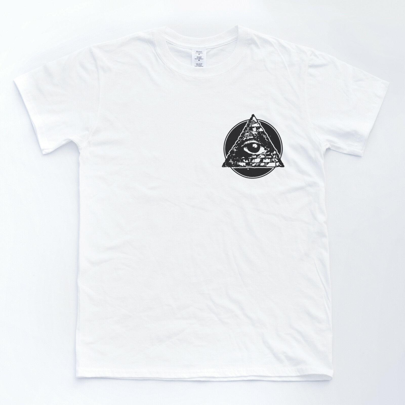 ILLUMINATI insignia LOGO pirámide ocultismo Skater Top Hipster símbolo ojo camiseta