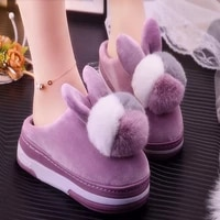 2020 new arrival womens winter home flurry shoes female short plush slippers platform increase 5 cm girls ins slippers