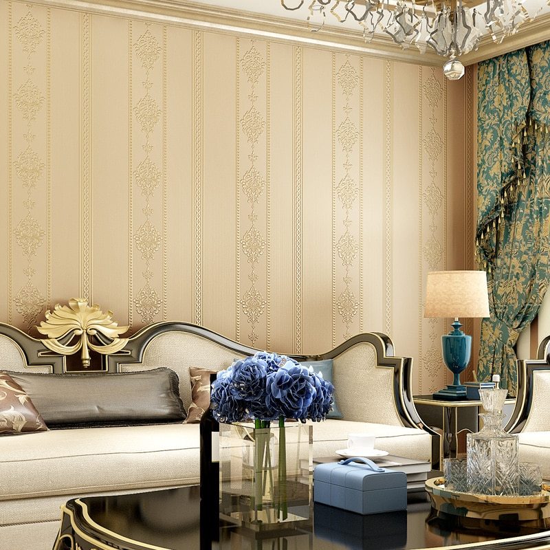 2020 New Creative Damask Wallpaper 3d Elegant White Yellow Blue Stripe Wallpapers Living Room Bedroom Decoration Wall Paper J097