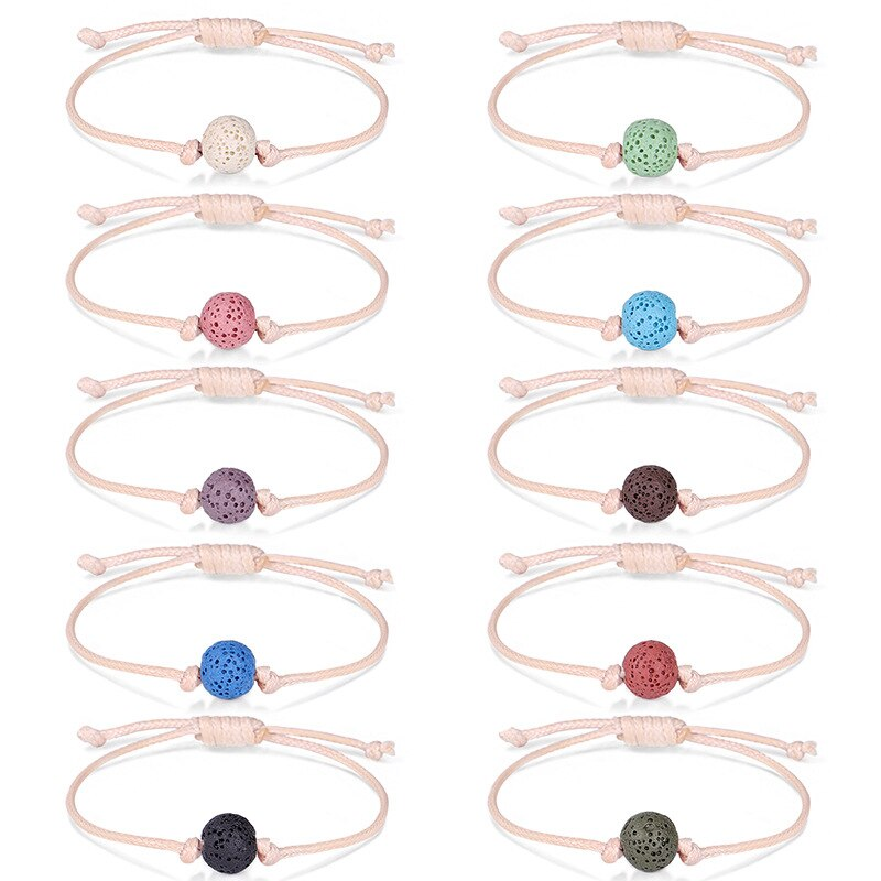 Pulsera de perlas de piedra Natural de Lava, pulseras de pareja de trenzado de cadena roja para hombres y mujeres, joyería de deseo