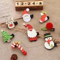 2pcsset cute christmas hair clip shiny santa claus hairpin baby girl headdress christmas party decor girl hair accessories