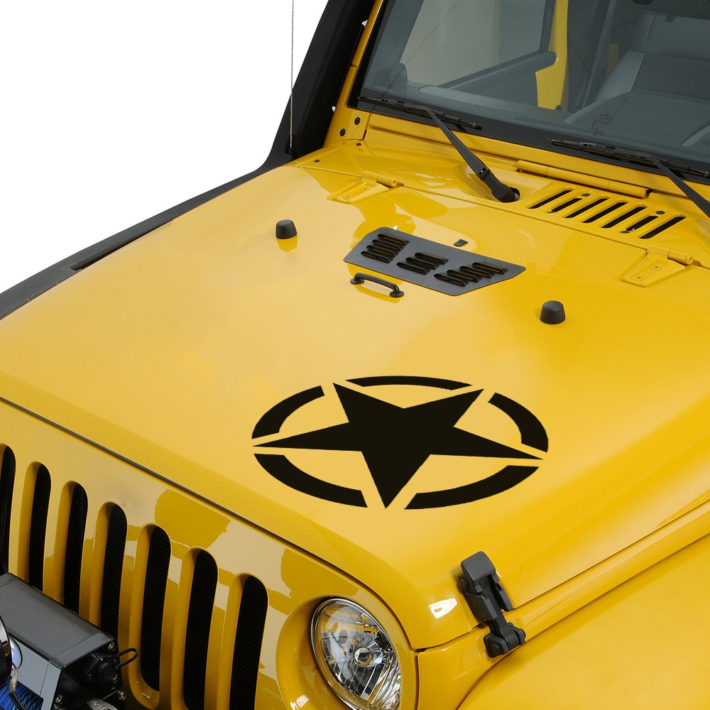 Militar con estrella del Ejército adhesivo para capó de vehículo para en Jeep Wrangler JK CJ TJ YJ patriota Grand Cherokee brújula comandante Accesorios