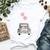 2021 womens t shirt vintage car flower aesthetic summer outfit graphic tee o neck short sleeve korean style tee shirt femme