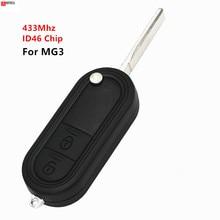 keyecu Flip Remote Control Car Key 2 Button Fob Transmitter 433MHz ID46 chip for MG 3