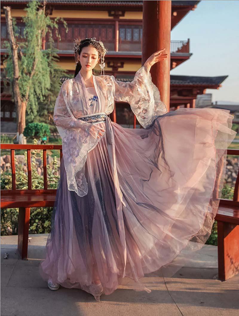 Las mujeres trajes Hanfu chino antigua tradición gradación púrpura vestido de fantasía Mujer carnaval Cosplay traje para Mujer Plus tamaño